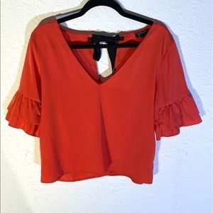 Topshop Coral Top Ruffle Sleeve Tie Back